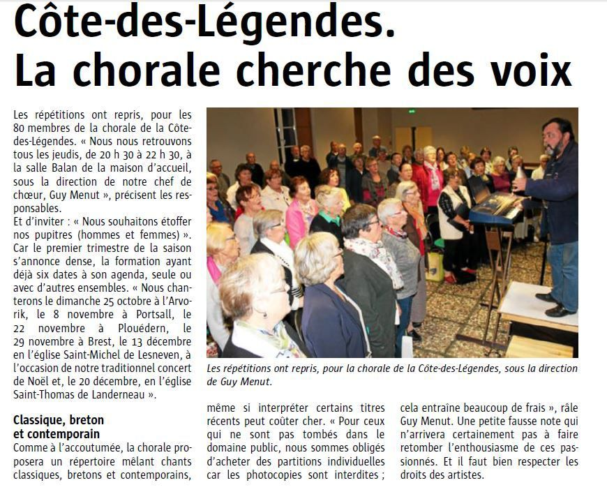 ARTICLE LE TELEGRAMME du 6.10.2015