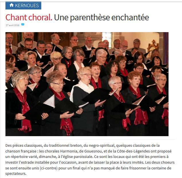 article paru dans le TELEGRAMME du 27 avril 2016