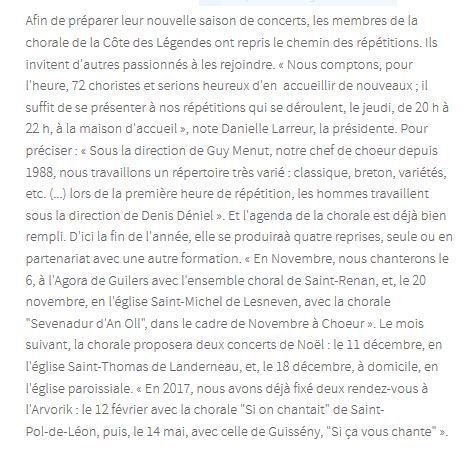 article paru dans le journal LE TELEGRAMME du 29 octobre 2016