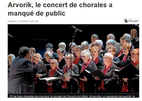 14.05.2017 concert salle Arvorik à LESNEVEN par la Chorale de la Côte des Légendes de LESNEVEN et la Chorale Si ça Vous Chante de GUISSENY