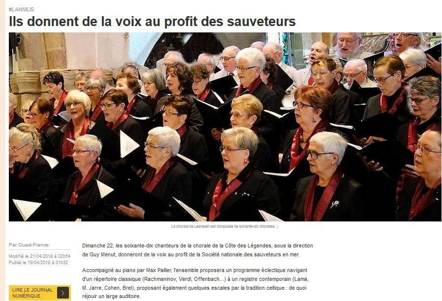 article OUEST FRANCE avant concert