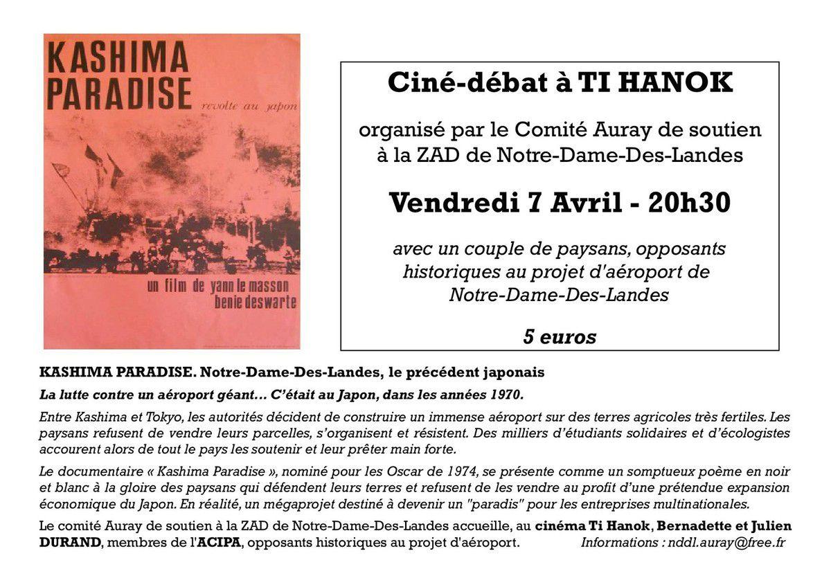 Vendredi 7 avril - Ciné-débat du comité Auray de soutien à la ZAD de Notre-Dame-Des-Landes