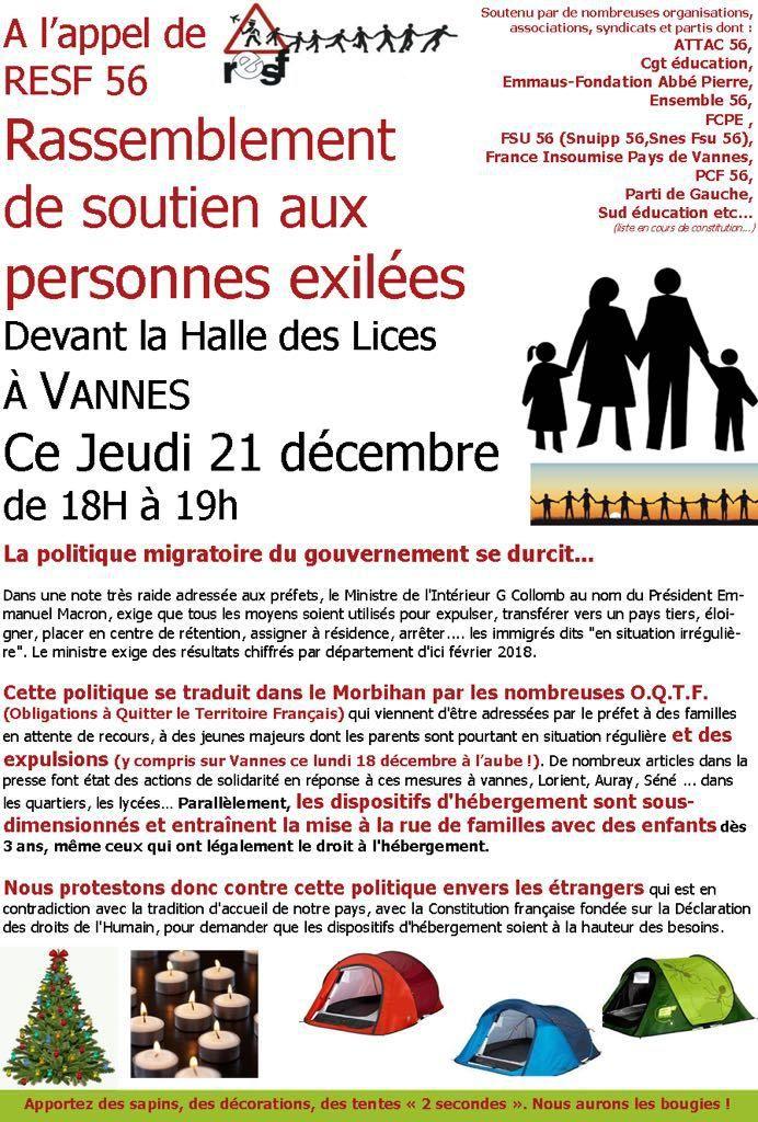 Rassemblements de soutien aux personnes exilées. VANNES et PONTIVY. Jeudi 21 décembre