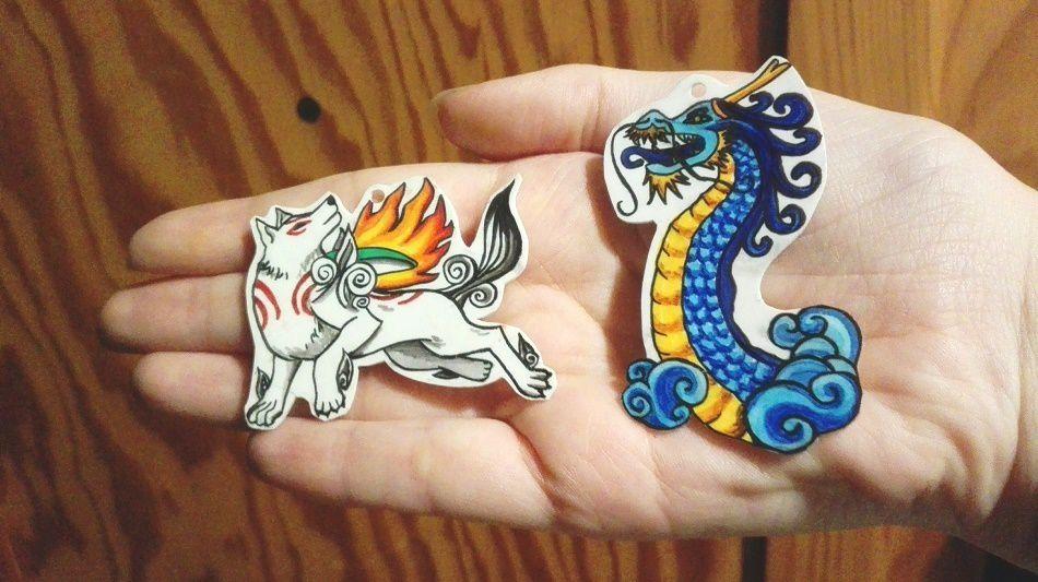 Amaterasu d'Okami et dragon (création) pour porte clés (vendus bien sûr avec l'attache)