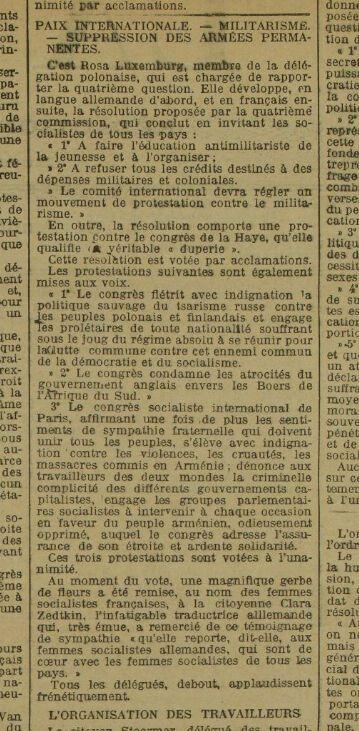 Un article de la Dépêche du 28 septembre 1900, Rosa Luxemburg, rapporteur de la commission sur la paix, le militarisme et la suppression des armées permanentes.
