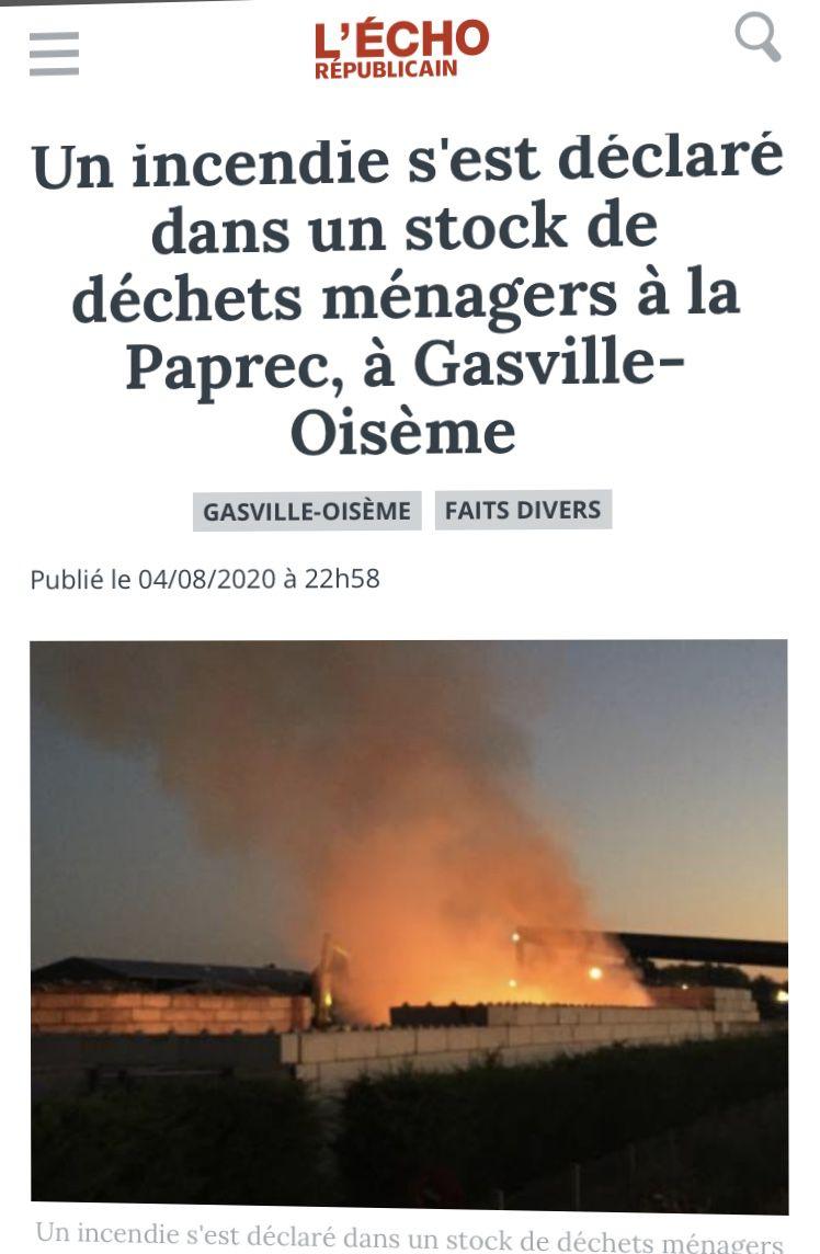 Encore un incendie industriel...