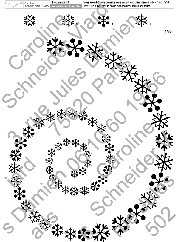 Nouveautés automne 2017 : les planches de repérages tourbillon de flocons de neige