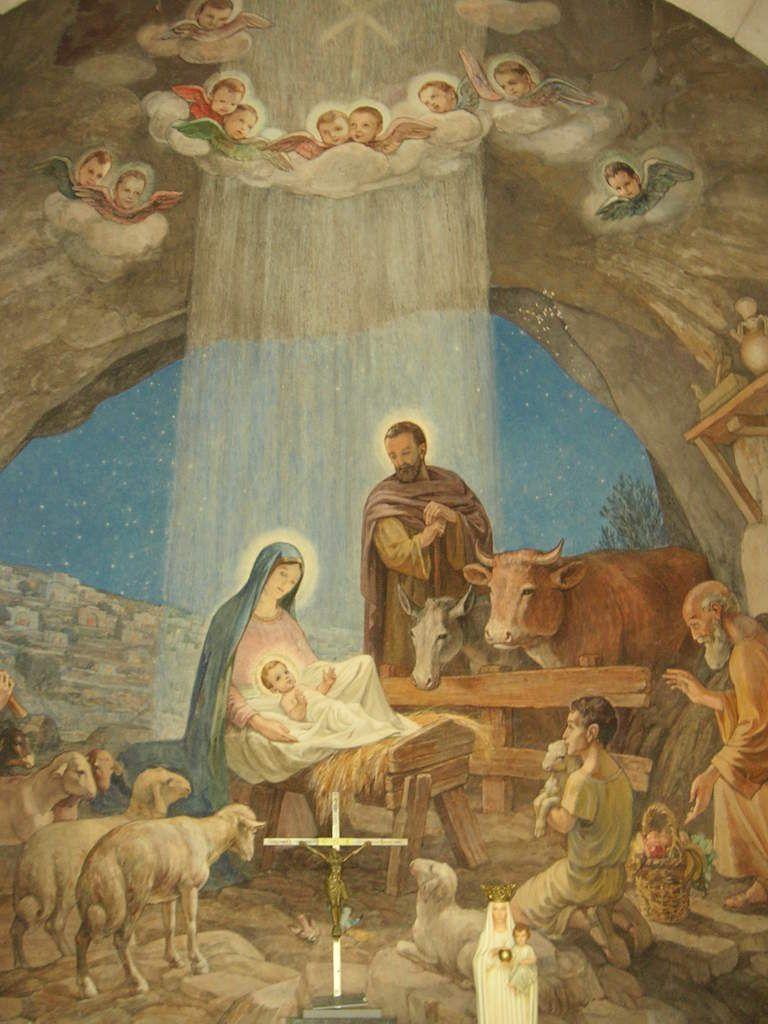 Scène de la Nativité dans l'église du champs des bergers à Bethléem.
