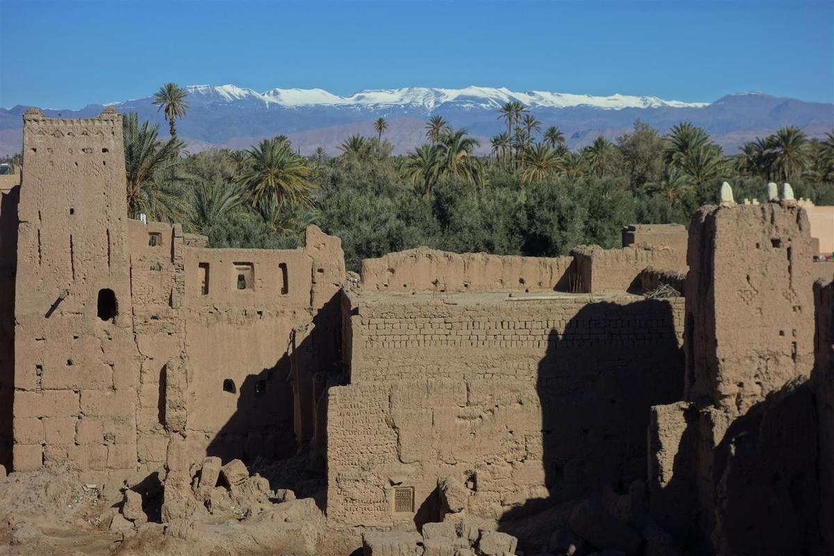 dans l'immense palmeraie de Skoura et ses innombrables kasbahs