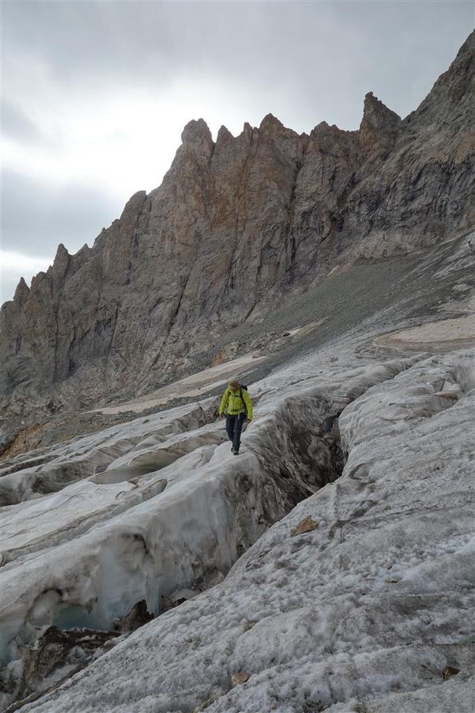 au retour sur le glacier, entre les crevasses