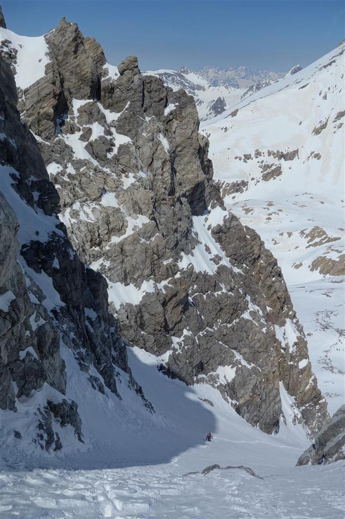 J1 : montée dans le couloir Bujon jusqu'à l'arête à 3250 m