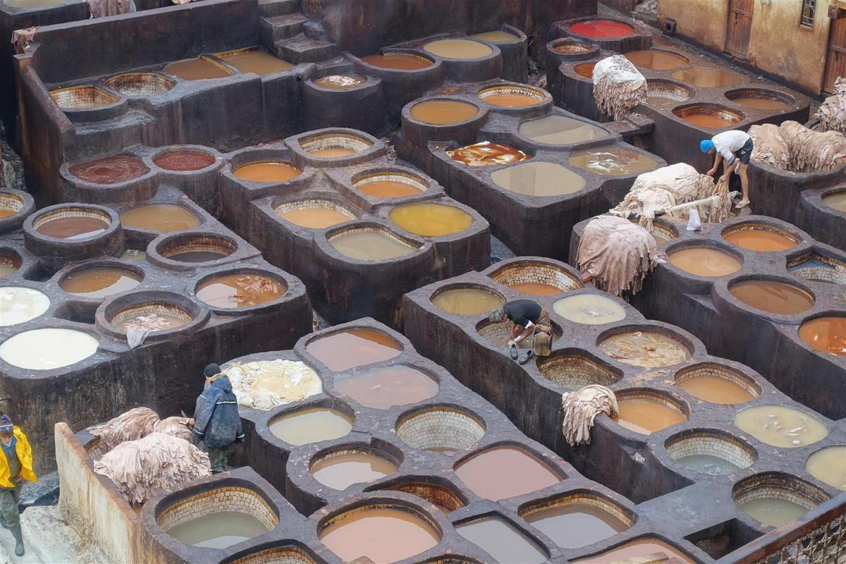 les cuves de nettoyage et de coloration des peaux d'une tannerie