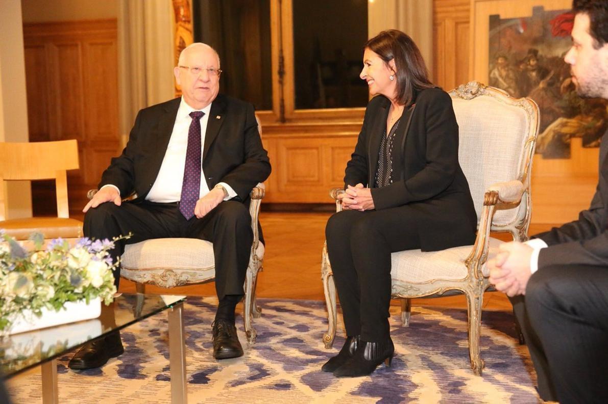 Anne Hidalgo avec le Président israélien Rivlin en janvier 2019