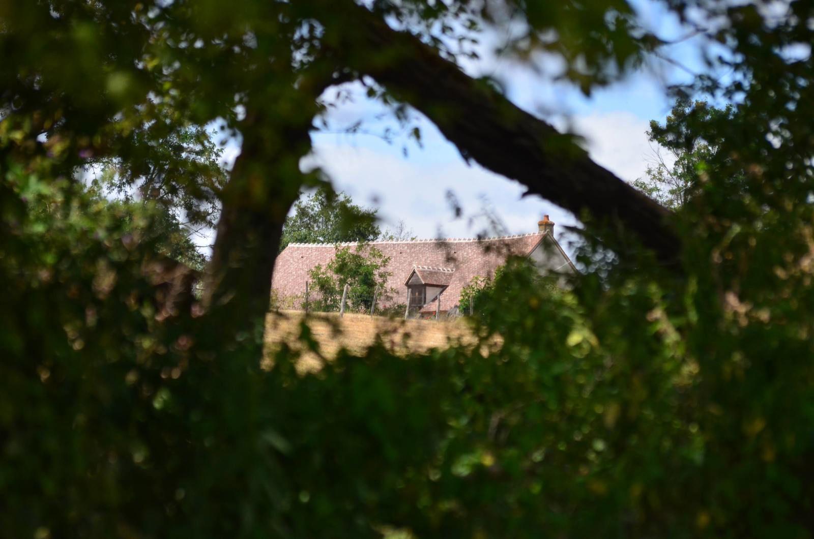 Embraud (sur-Allier) vu depuis une fenêtre de verdure du port d'été