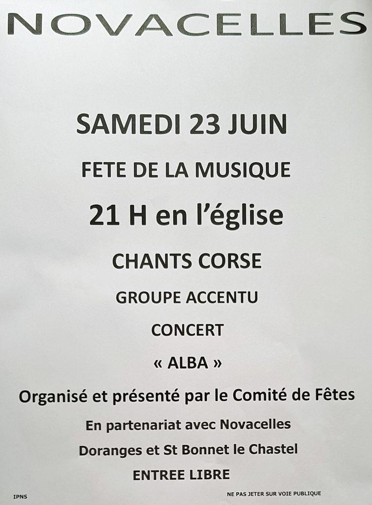 Concert des 3 communes à Novacelles