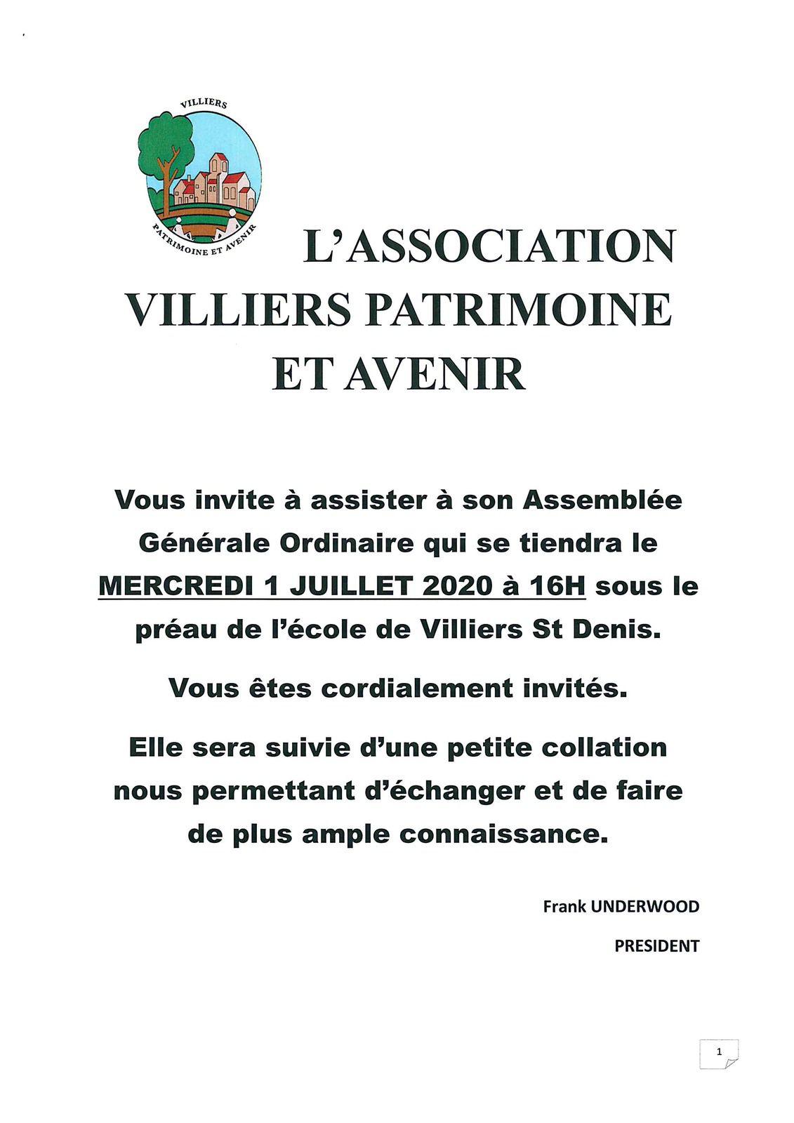 AG Association VILLIERS PATRIMOINE ET AVENIR