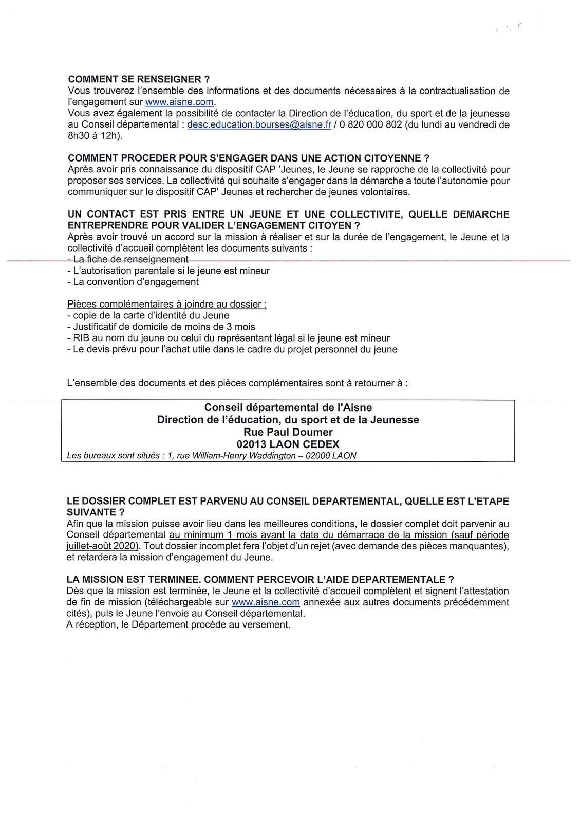 Nouveau: Contrat Aisne Partenariat pour les Jeunes. CAP'Jeunes