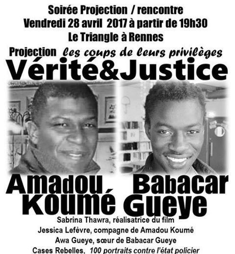 Vendredi 28 avril sur Rennes #justicepouramadou  #justicepourbabacar