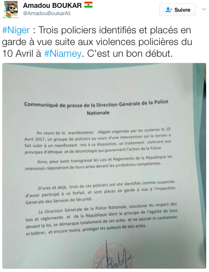 Réaction de la DDSP du Niger