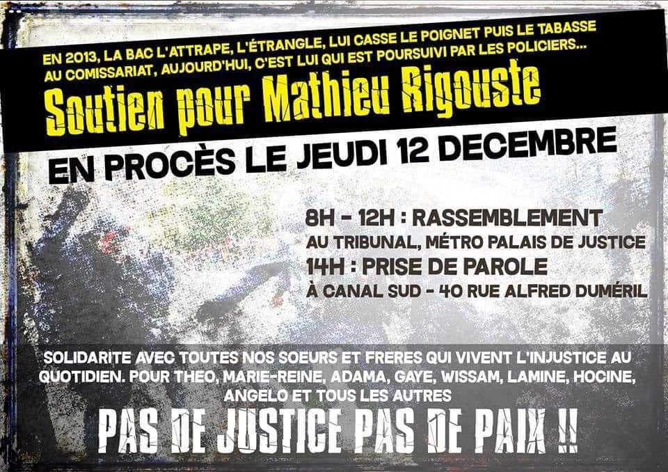 Soutien pour Mathieu Rigouste en procès le jeudi 12 décembre à Toulouse