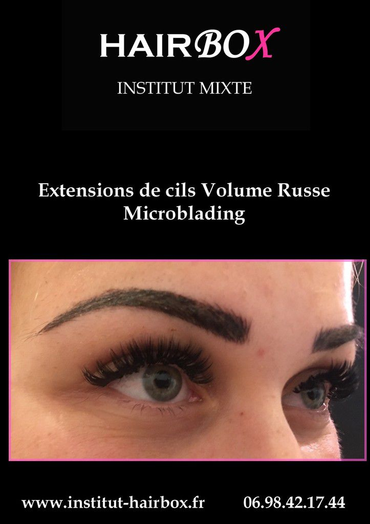 Extensions de cils volume russe + Microblading