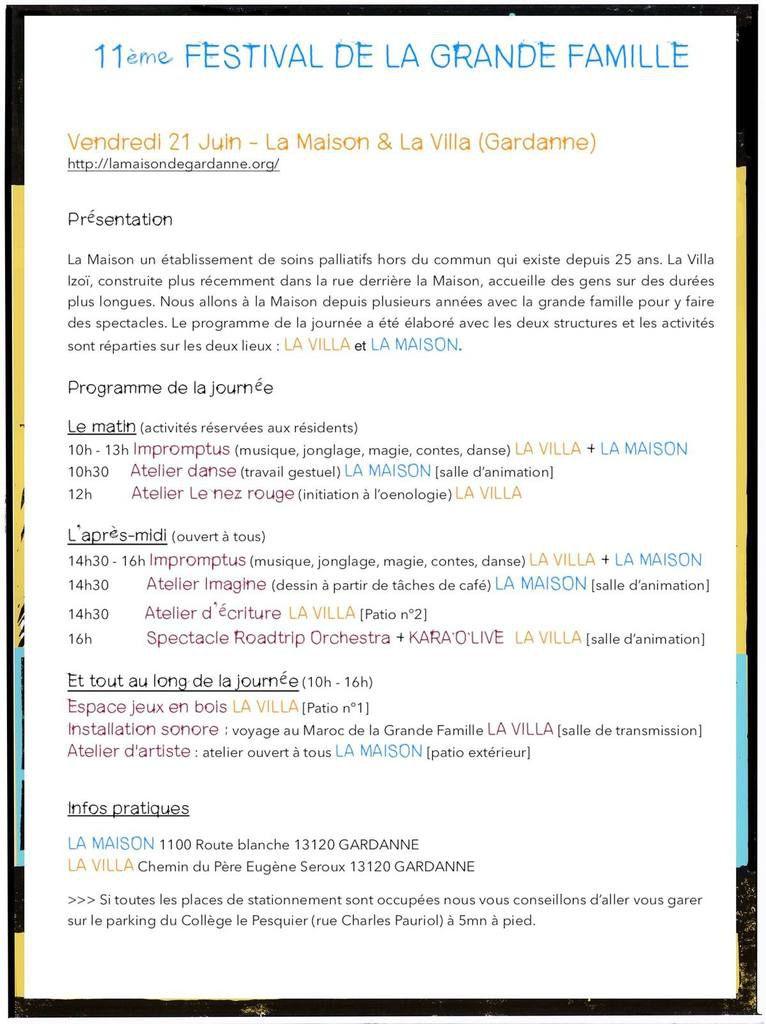 11ème Festival de La Grande Famille : itinérant & participatif !
