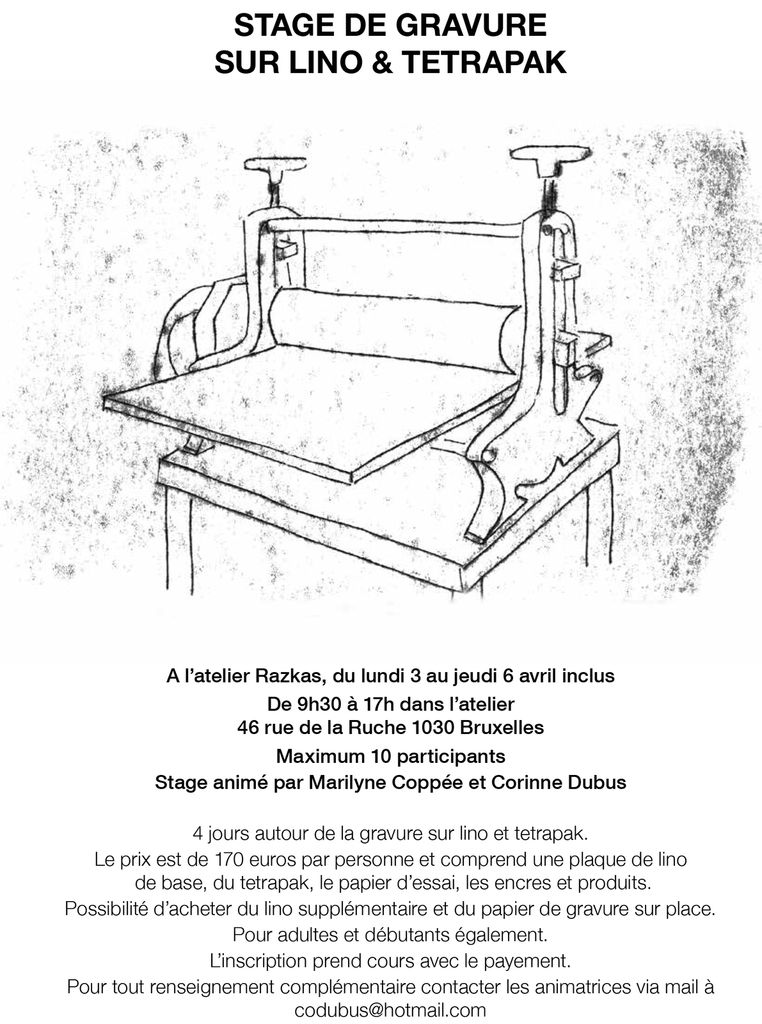 Stage de gravure sur lino et tétrapack