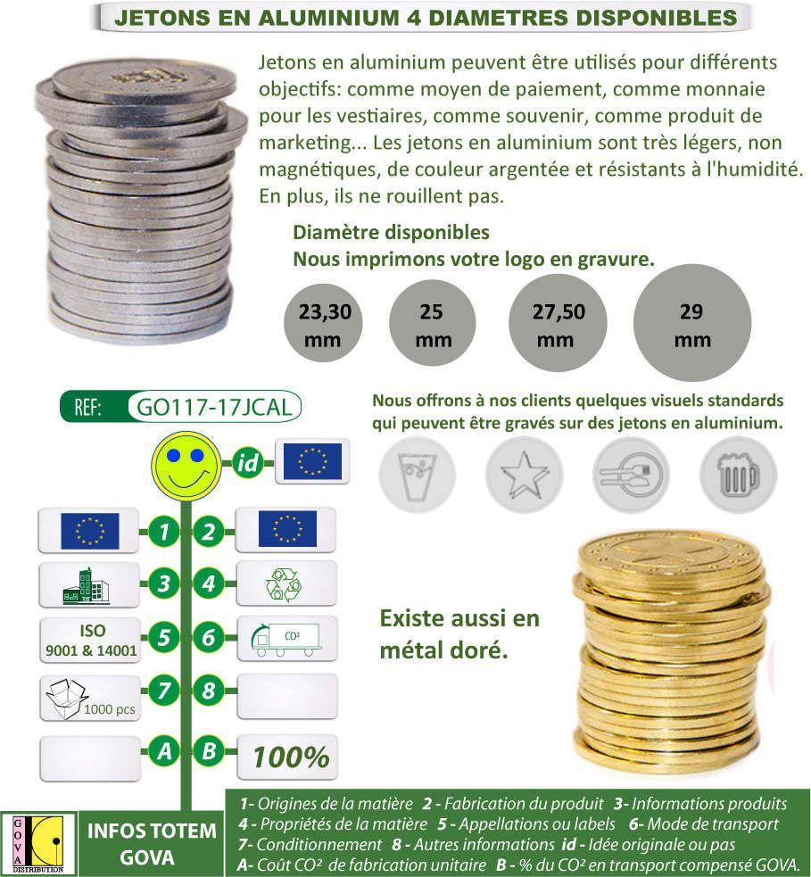 Jeton caddie en aluminium ou métal doré - GO117-17JCAL