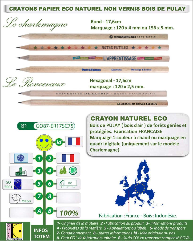 Crayon naturel eco sans vernis