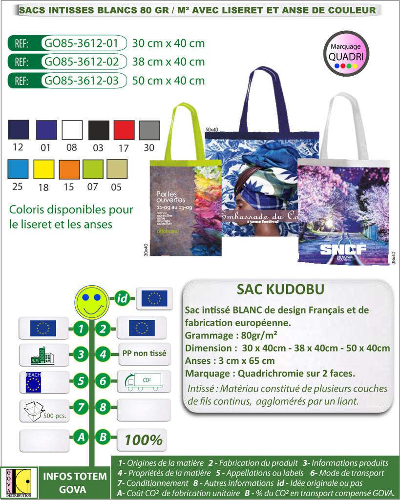 Sacs KUDOBU en intissé 80gr - 3 tailles disponibles avec liseret et anses de couleur - GO85-3612