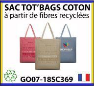 Sacs shopping fabriqués à partir de fibres de coton recyclé - fabrication européenne - GO07-18SC369
