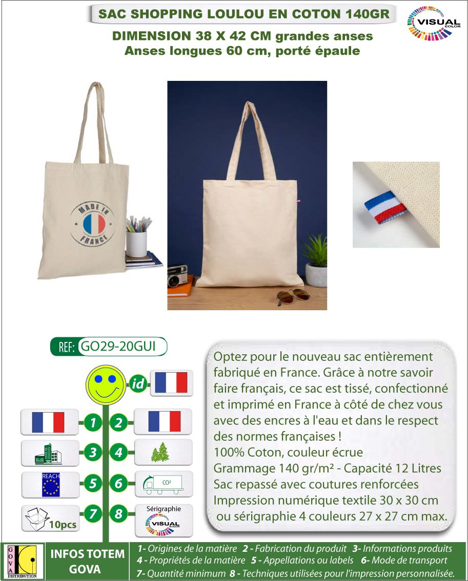 Sacs shopping en coton recycle made in france- GO07-18BG369