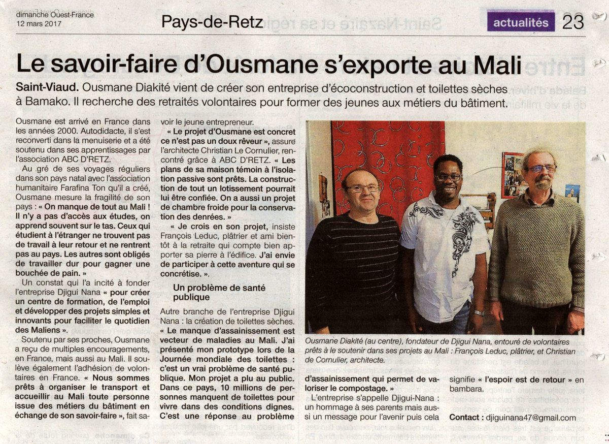 article Ouest France du 12 mars 2017