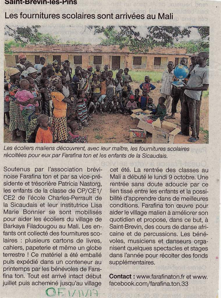 Article Ouest France 01/11/2017