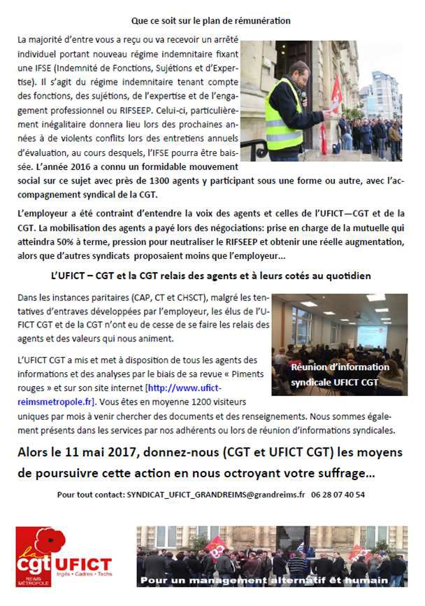 Elections CAP et CT au Grand Reims, 11 mai 2017