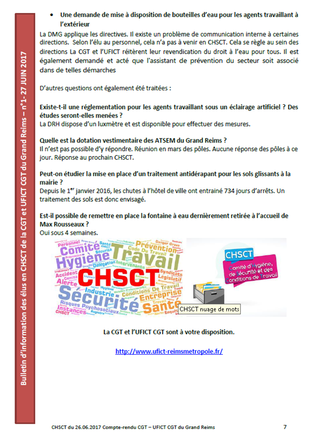 Compte-rendu du CHSCT du 26 06 2017 Grand Reims