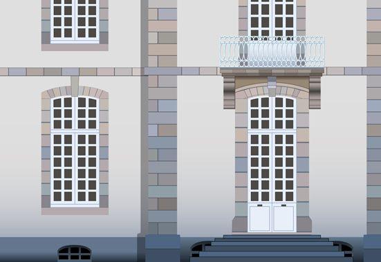 Détail de la porte et du balcon
