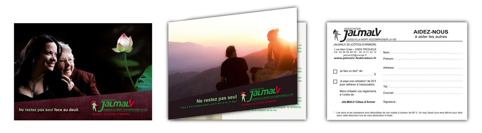Trois flyers en carte postale