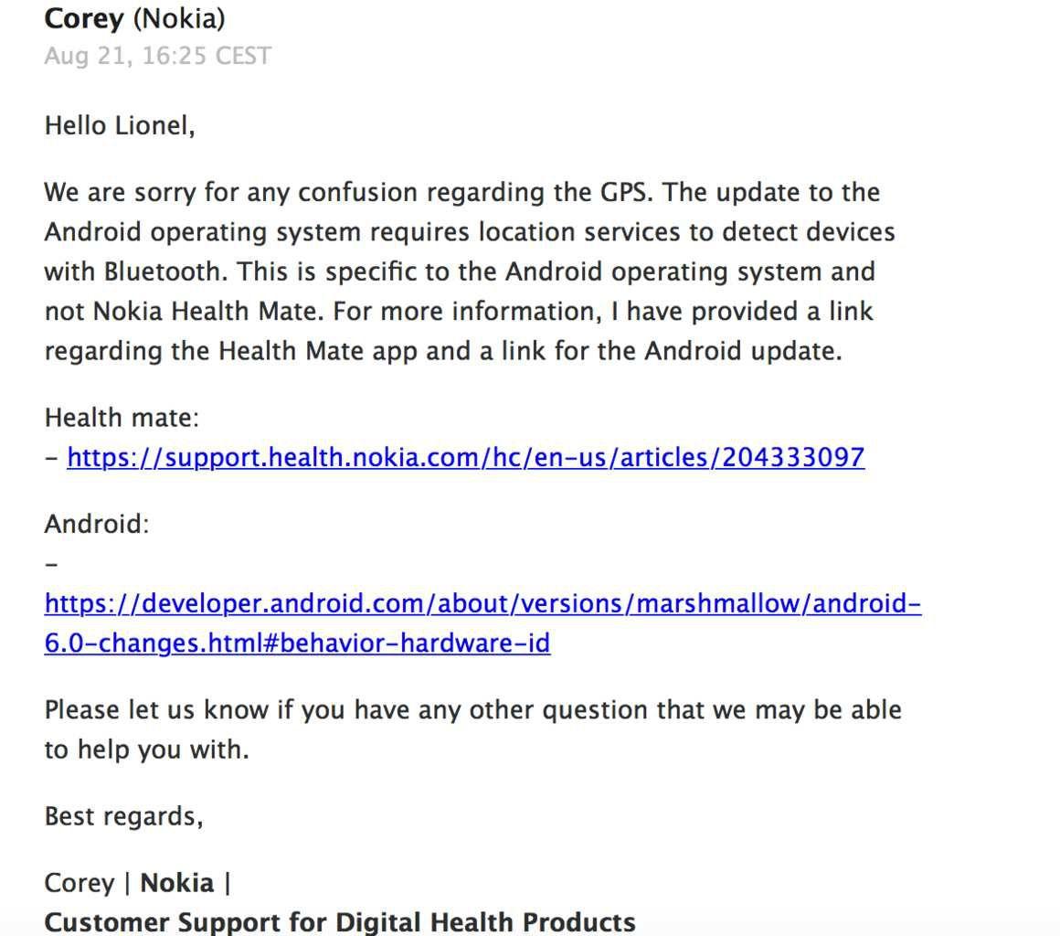 Deuxième réponse de Nokia