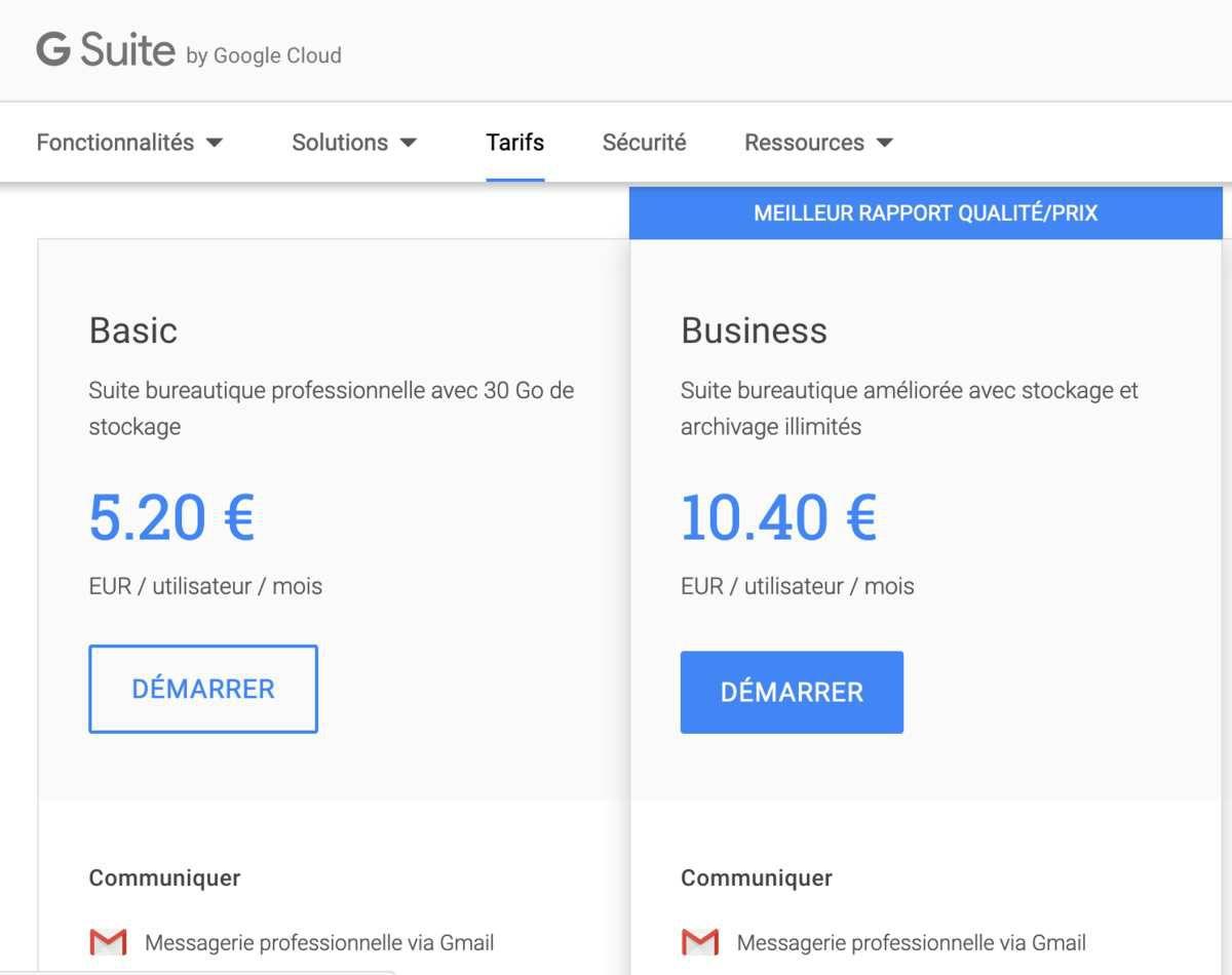 L'offre GSuite de Google