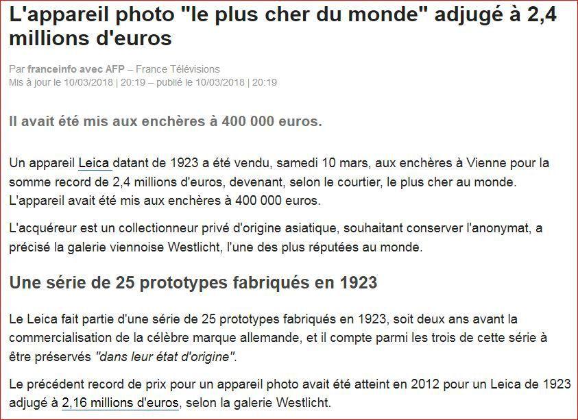 Leica de 1923 : nouveau record