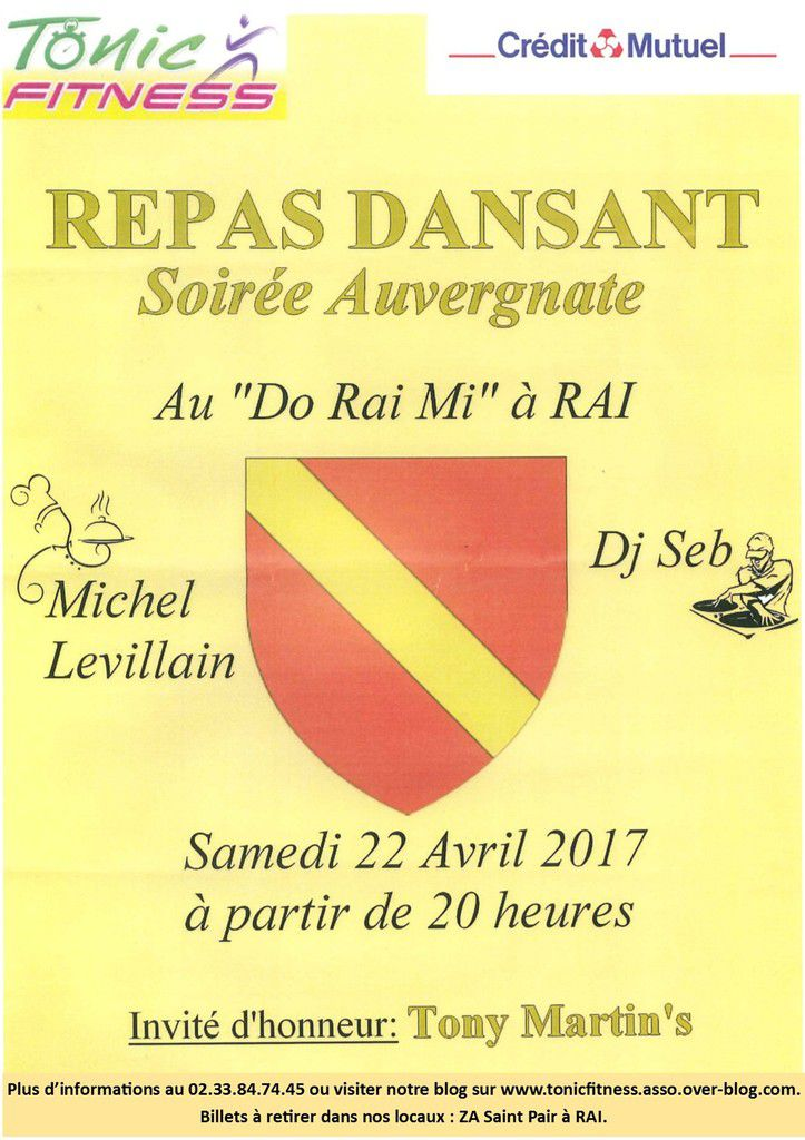 Association Tonic Fitness : REPAS DANSANT le samedi 22 Avril 2017 au Do Rai Mi