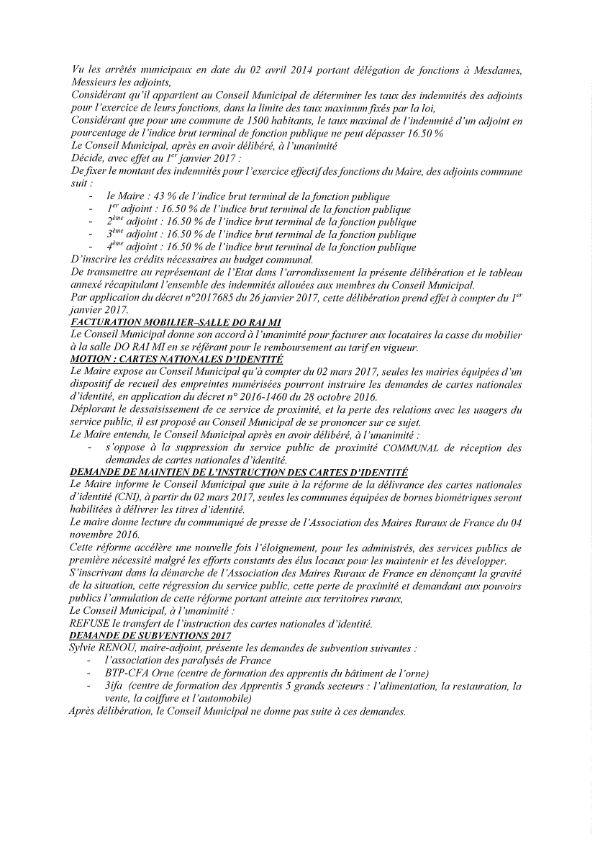 Réunion du Conseil Municipal en date du 14 mars 2017