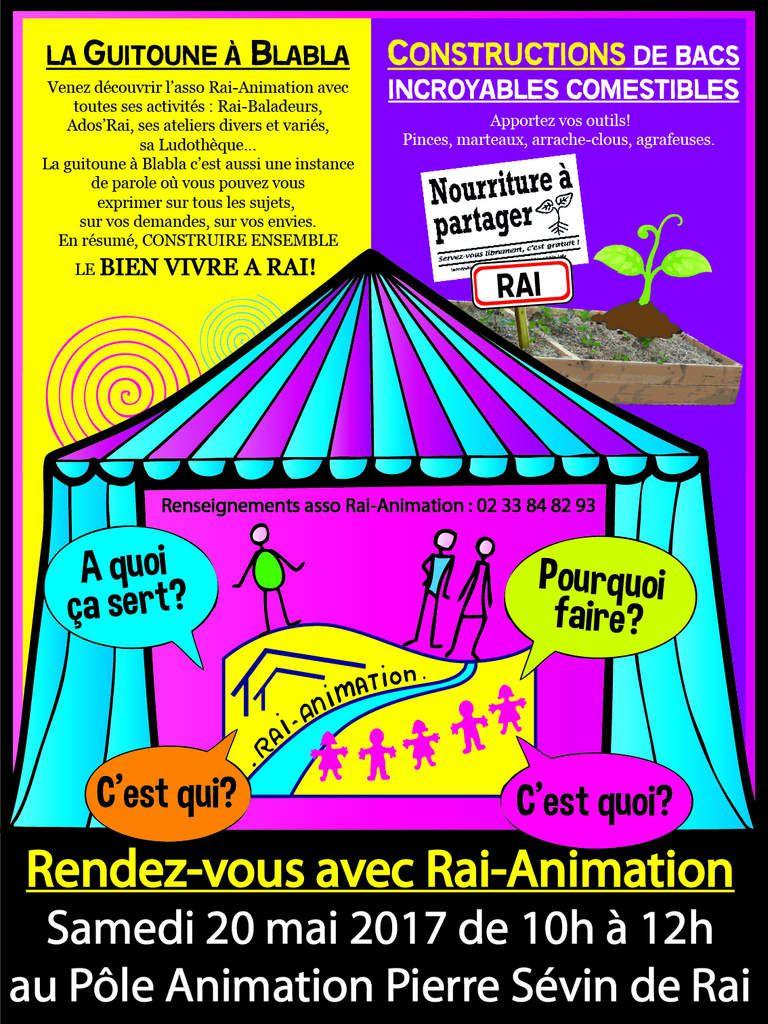 """Samedi 20 mai : Rendez-vous avec Rai-Animation! Guitoune à blabla et construction de bacs """"Incroyables Comestibles""""."""