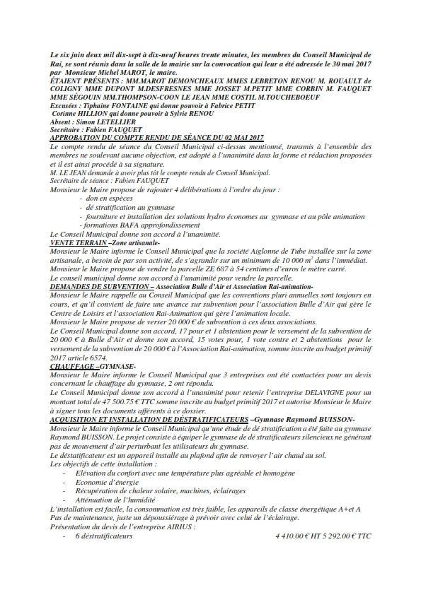 Réunion du Conseil Municipal en date du 06 juin 2017