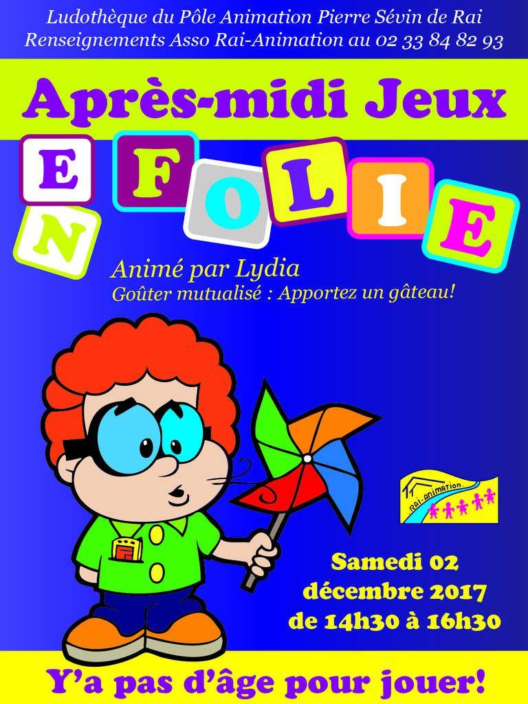 Jeux en Folie samedi 02 décembre de 14h30 à 16h30 dans la Ludothèque du Pôle Pierre Sévin