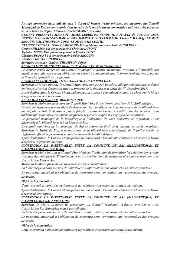 Réunion du Conseil Municipal en date du 07 novembre 2017