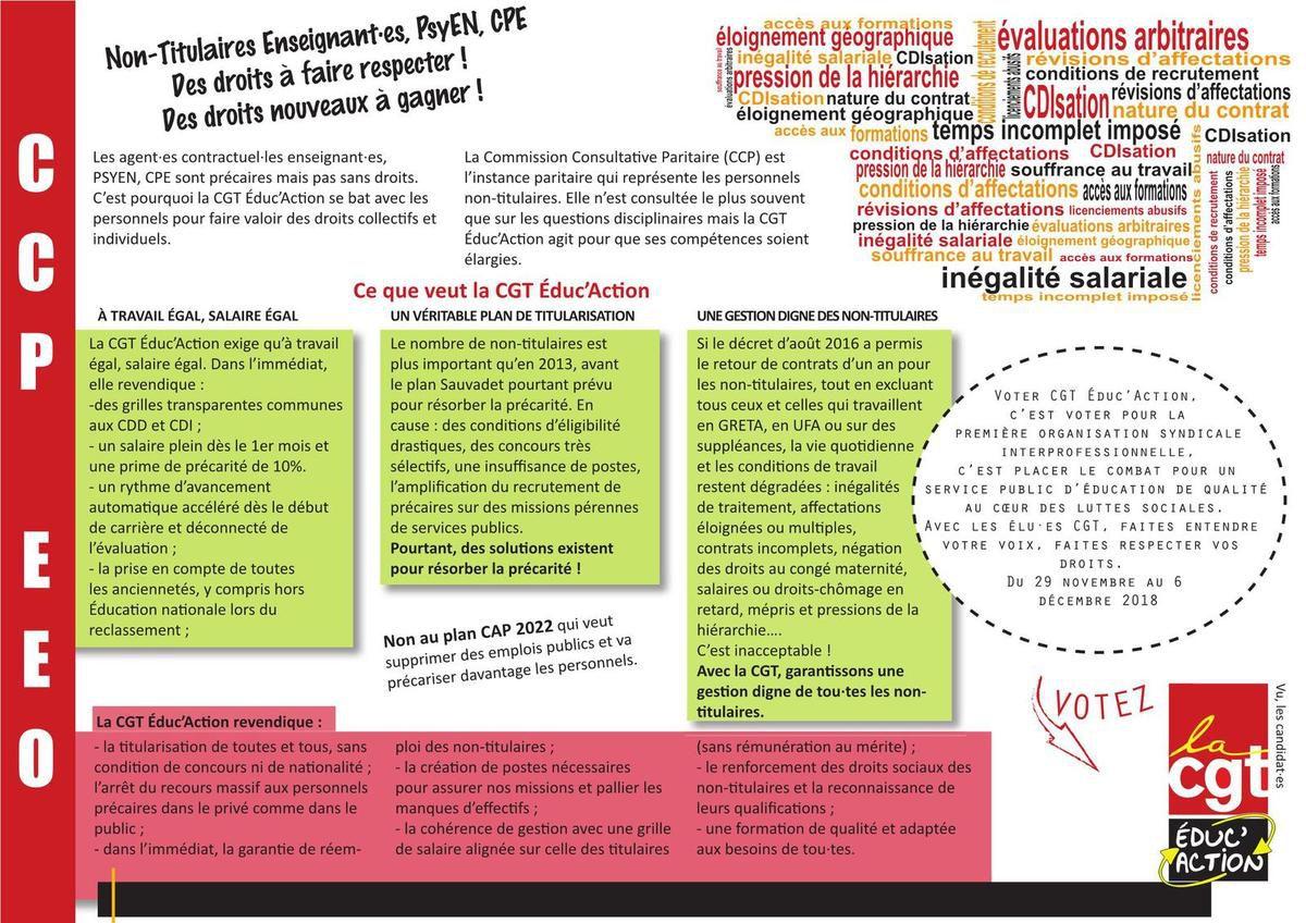 CCP EEO (Non-Titulaires Enseignants, CPE, Psy-EN) - Profession de foi CGT éduc'action
