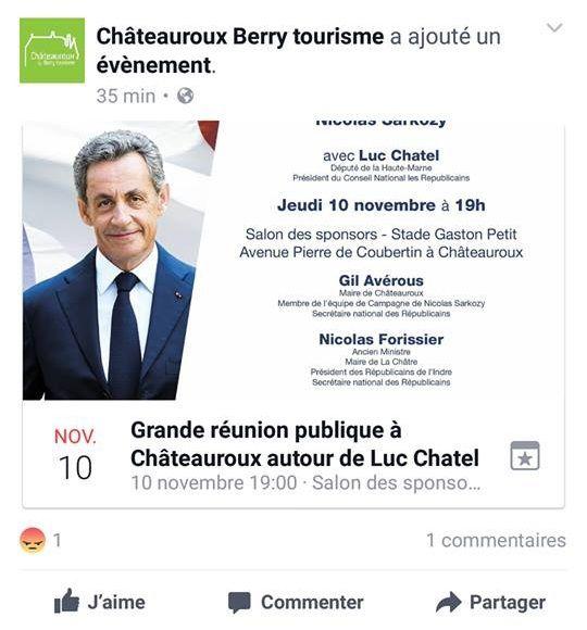 Quand Châteauroux Berry Tourisme vous invite à un meeting en faveur de Nicolas Sarkozy !
