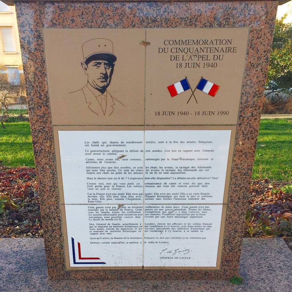 Monument du Cinquantenaire de l'Appel du Général de Gaulle à Châteauroux